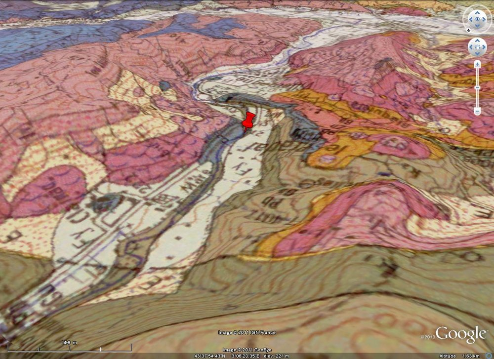 Vue BRGM / Google Earth de la discordance hercynienne dans la région du Pradal, Hérault