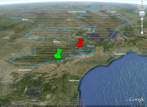 Schéma structural, sur fond Google Earth, montrant le socle paléozoïque et la discordance hercynienne dans le massif Central