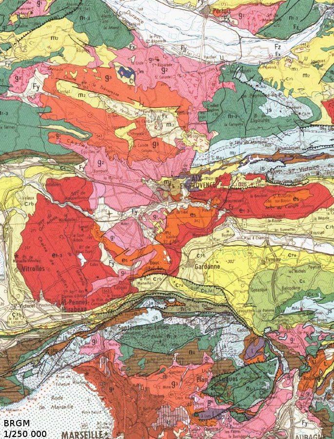 Extrait de la carte géologique 1/250000 de Marseille montrant le bassin Oligocène d'Aix en Provence