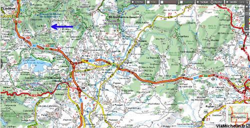 Localisation de la carrière de Loiras (flèche bleue) (Le Bosc, Hérault), entre Montpellier et Lodève