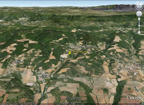 Vue Google Earth localisant la carrière de Loiras, Le Bosc, Hérault