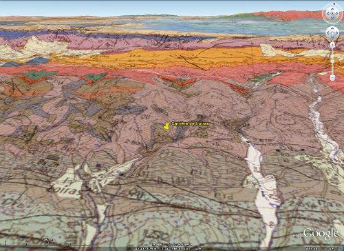 Vue Google Earth / BRGM localisant la carrière de Loiras, Le Bosc, Hérault