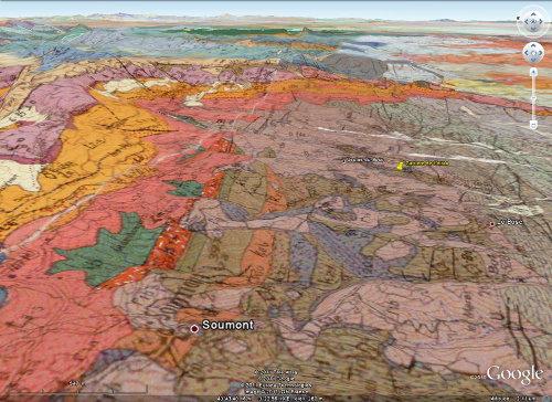 Autre vue Google Earth / BRGM localisant la carrière de Loiras, Le Bosc, Hérault