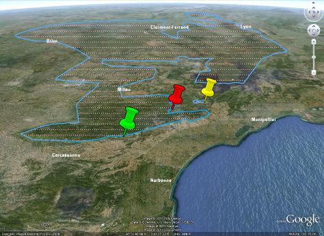 Localisation des trois affleurement illustrés dans Planet-Terre montrant la discordance hercynienne dans le Sud du Massif Central