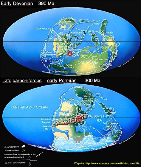 Histoire de l'orogenèse hercynienne d'après le site de scotese.com