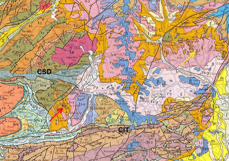 Extrait de la carte géologique BRGM de Montpellier au 1/250000 montrant comment dater la phase principale de l'orogenèse hercynienne dans le Sud du Massif Central