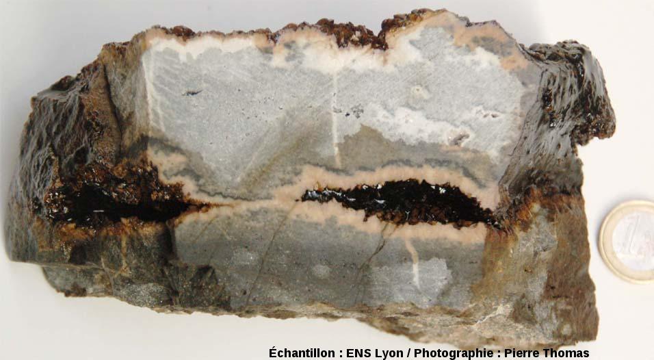Petit bloc coupé en deux et présentant un joint de stratification avec recristallisation de dolomite, carrière de Loiras, Hérault
