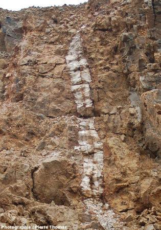 Partie supérieure du filon (barytine blanche) qui traverse le front de taille inférieur de la carrière de Loiras, Le Bosc, Hérault