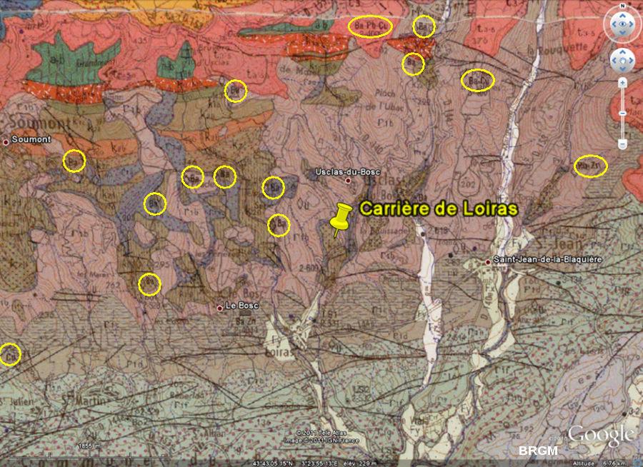 Extrait de la carte géologique BRGM / Google Earth du secteur de la carrière de Loiras (Le Bosc, Hérault)