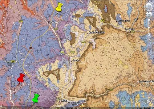 Localisation des gisements de barytine présentés dans la région de Millau