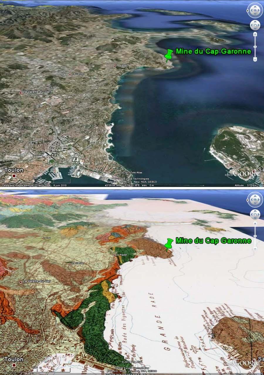 Localisation et contexte géologique de la mine du Cap Garonne, Le Pradet, Var