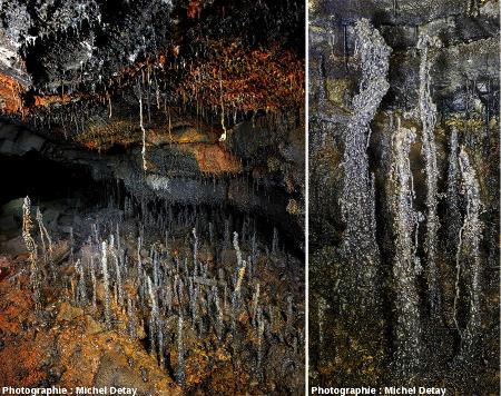 Vues d'ensemble et de détail des spéléothèmes basaltiques (stalactites et stalagmites) dans le tunnel de lave de Jorondur, Islande