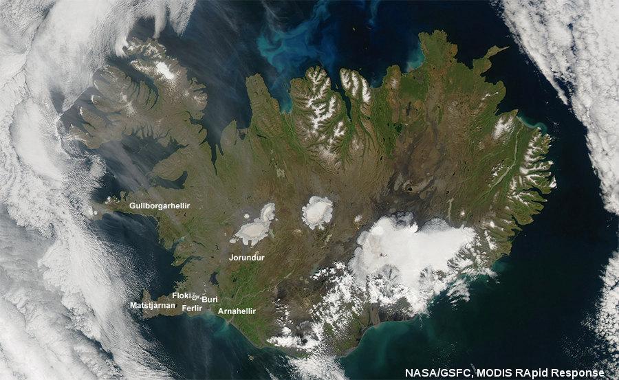Localisation (approximative) des tunnels de lave islandais cités dans cet article