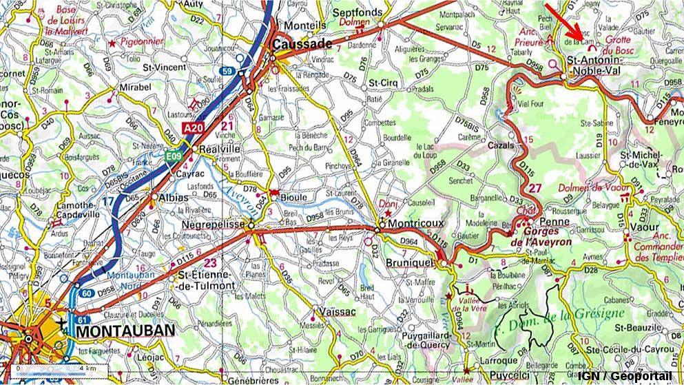 Localisation de la grotte du Bosc, sur la commune de Saint-Antonin Noble-Val, à 40km au Nord-Est de Montauban, Tarn et Garonne