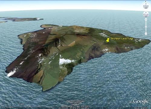 Localisation du Thurston Lava Tube, Grande Île, Hawaï