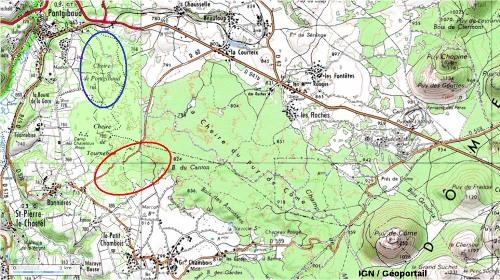 Carte topographique IGN de la cheire du Puy de Côme