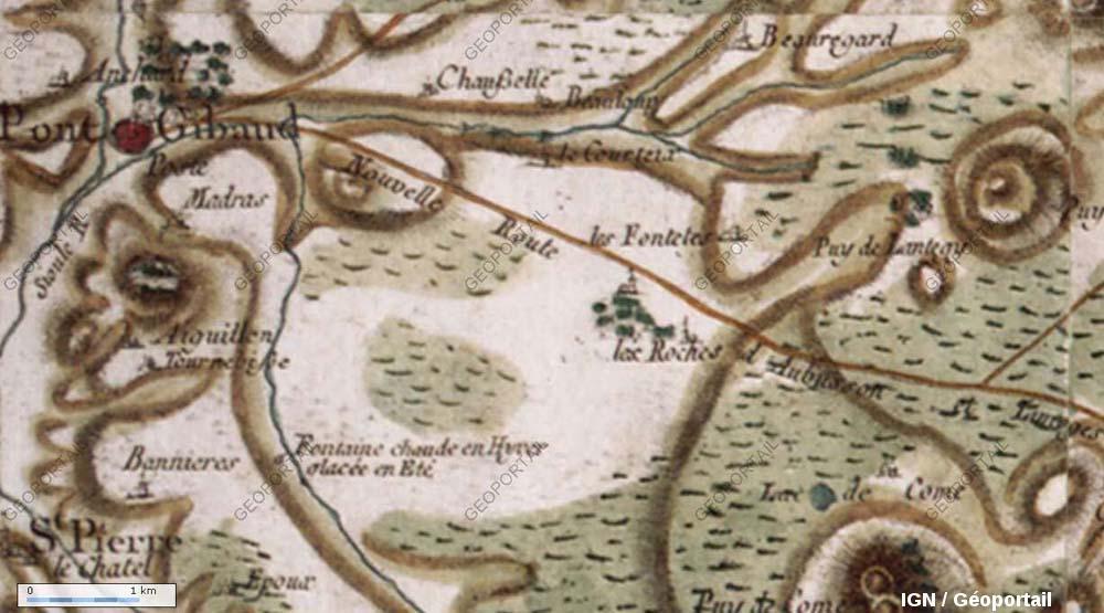 """Extrait de la carte de Cassini (établie au XVIIIème siècle) montrant que ce phénomène naturel est connu depuis """"toujours"""" (longtemps, du moins)"""
