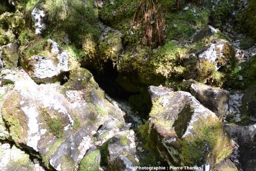 Gros plan sur la cavité à glace, cavité qui n'est en fait qu'un petit espace situé sous un amoncellement de roches