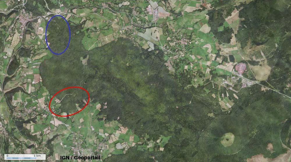 Vue Géoportail de la cheire du Puy de Côme