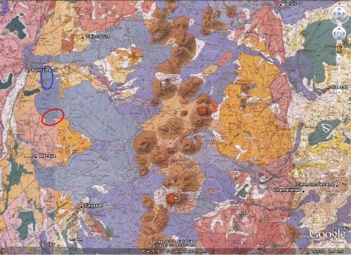 Vue BRGM / Google Earth de la cheire du Puy de Côme