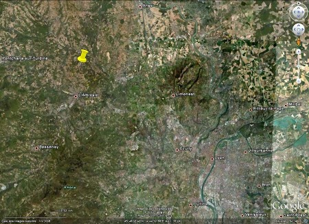 Localisation de la partie du chantier de l'autoroute A89 vue ici (punaise jaune)