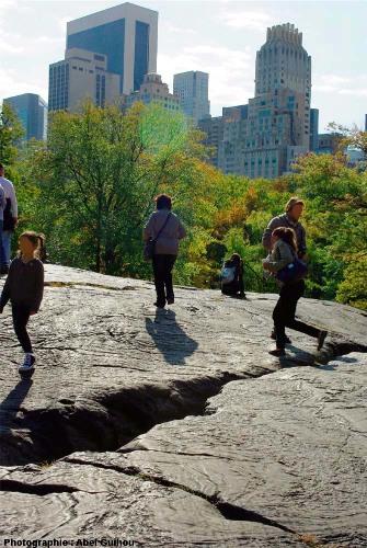 Le sommet de l'affleurement à plis et figures glaciaires, Central Park, New York (USA)