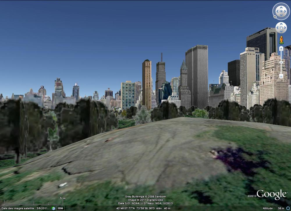 Vue Google Earth de l'affleurement illustré dans les figures précédentes, avec (approximativement) la même orientation de prise de vue que dans la figure 1, Central Park, New York (USA)