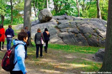 Vue d'ensemble d'un bloc erratique, Central Park, New York (USA)