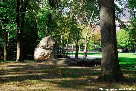 Un bloc erratique, Central Park, New York (USA)