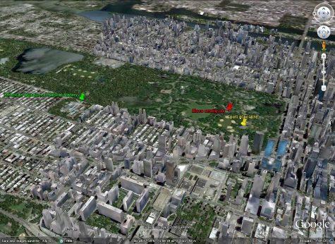Localisation sur vue Google Earth des affleurements illustrés dans les figures précédentes, Sud de Central Park, Manhattan, New York (USA)