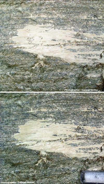 Un placage de farine glaciaire avant (en bas) et après y avoir donné des coups avec la pointe d'un marteau (en haut)
