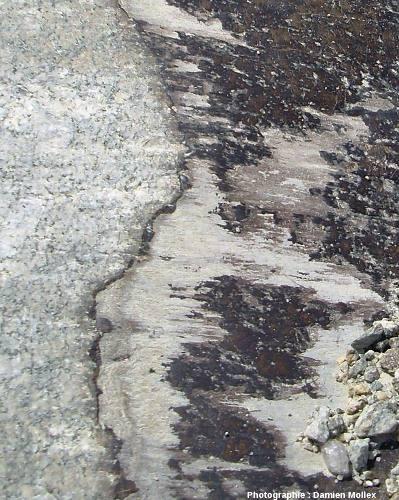 Affleurement présentant une «marche d'escalier» au pied du glacier de Largentière dans le massif du Mont Blanc