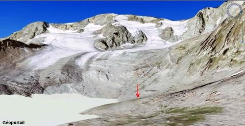 """Vue générale """"Géoportail"""" du glacier des Quirlies, Massif des Grandes Rousses"""