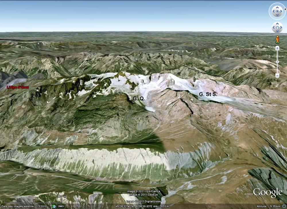 """Vue """"Google Earth"""" du flanc Est du Massif des Grandes Rousses, au Nord de l'Alpe d'Huez"""