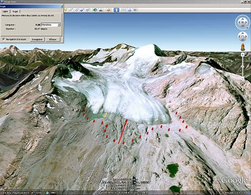 """Vue """"Google Earth"""" du glacier de Saint Sorlin (Savoie)"""