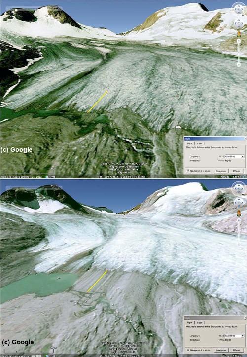 """Deux vues """"Google Earth"""" de l'Est du front du glacier de Saint Sorlin (Savoie) à 3 ans d'écart"""