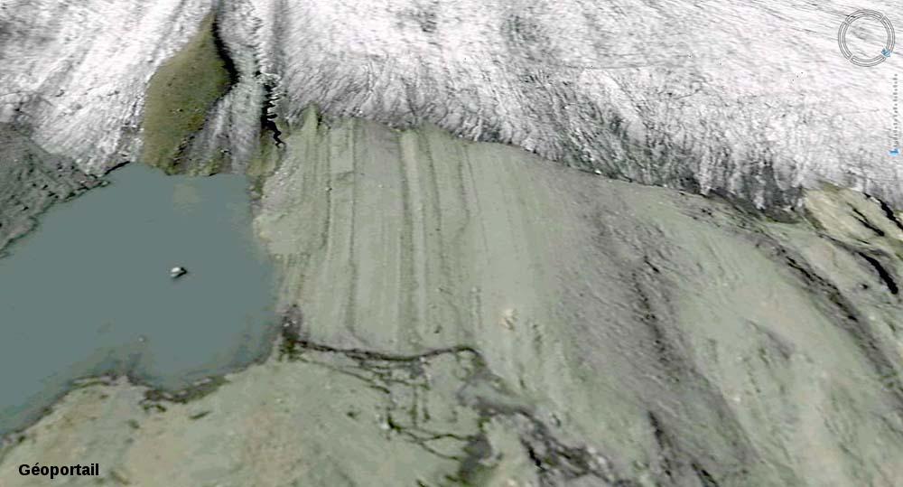 """Zoom """"Géoportail"""" sur l'avant du front du glacier de Saint Sorlin dégagé depuis 2003"""