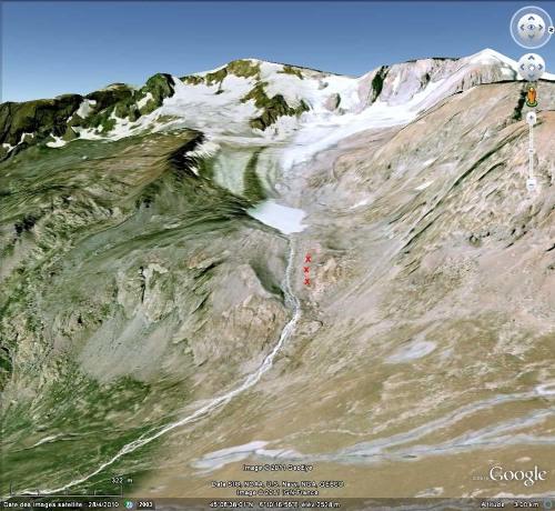 """Vue """"Google Earth"""" du glacier et du lac des Quirlies, Massif des Grandes Rousses (Isère)"""
