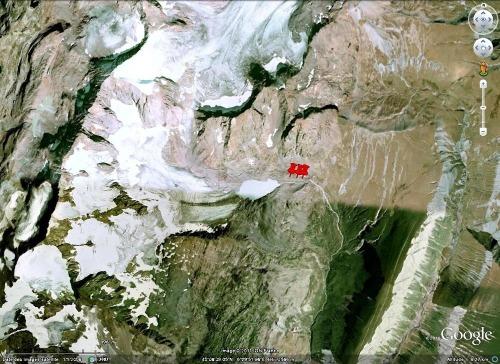 """Vue """"Google Earth"""" du secteur du glacier et du lac des Quirlies, Massif des Grandes Rousses (Isère)"""