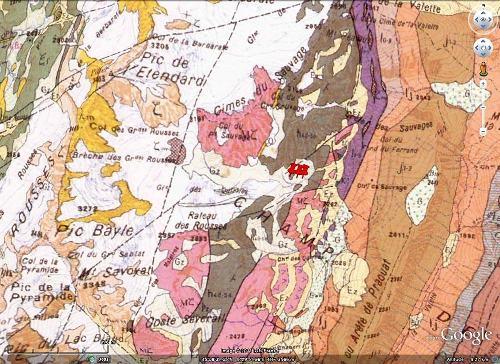 Carte géoloique du secteur du glacier et du lac des Quirlies, Massif des Grandes Rousses (Isère)