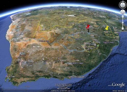 Localisation des fers rubanés de Barberton, au Sud de l'Afrique