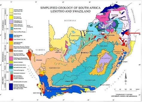 Situation du super-groupe de Barberton figuré en bleu foncé (flèche rouge) sur une carte géologique simplifiée de l'Afrique du Sud
