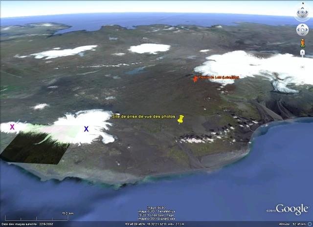 Vue Google Earth de la côte Sud de l'Islande