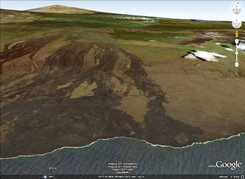 Vue Google Earth de la partie occidentale du versant Sud du Kilauea (Hawaii)
