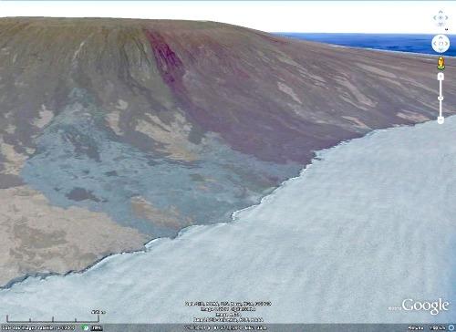 Vue Google Earth de la côte Nord de l'île de Fernandina, archipel des Galapagos, Équateur