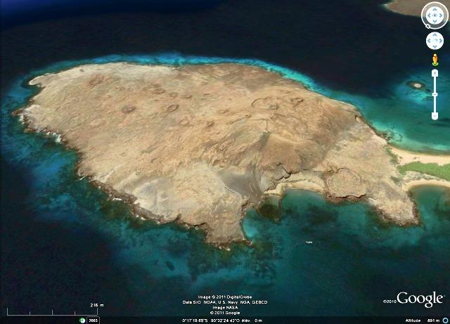 Vue Google Earth de l'île Bartolomé et de ses cônes de scories, archipel des Galapagos, Équateur