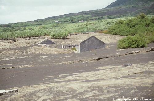 Maisons dépassant des cendres, ancien hameau du village de Capelo, île de Faial, Açores
