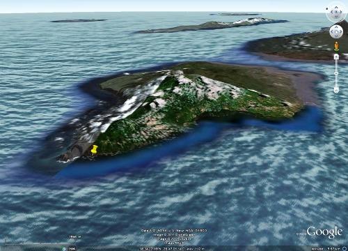 Localisation de l'ancien hameau du village de Capelo recouvert par les cendres du Capelinhos, île de Faial, Açores