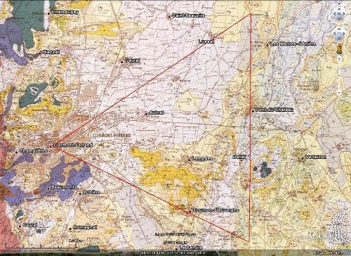 Localisation du triangle d'or de la lussatite, à l'Est de Clermont-Ferrand