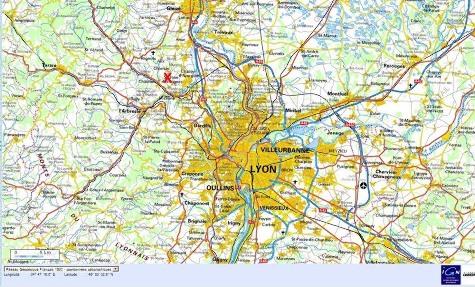 Localisation (croix rouge) de la carrière Lafarge de Belmont d'Azergues, dans la région lyonnaise